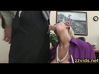 Busty blonde abbey sucking big cock