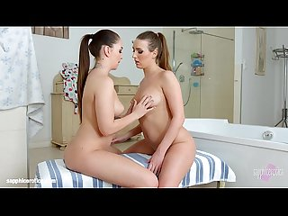 Bathtub babes by Sapphic Erotica - sensual lesbian scene with Angelina Brill Jes