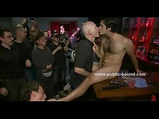 Nasty gay men in public gangbang sex