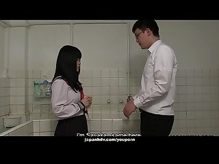 Japanese schoolgirl, Sayaka Aishiro gives great handjobs to friends, uncensored