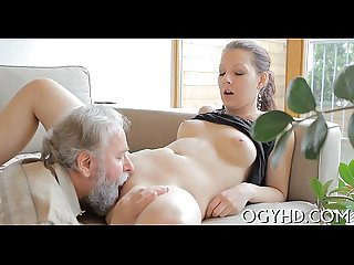 Young active gal blows old dick
