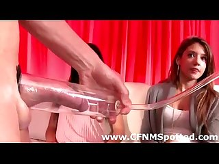Penis pump and blow job for classy CFNM group