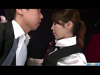 Office bimbo rino asuka blows on a big dick