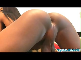 Ebony tgirl masturbating until cumshot