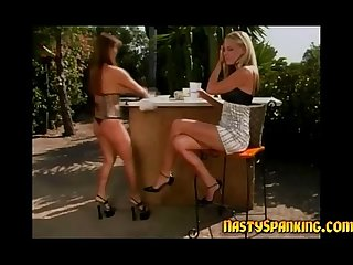Redhead gets her lesbian ass spanked