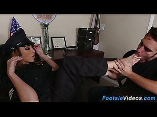 Lady cops feet cumshot