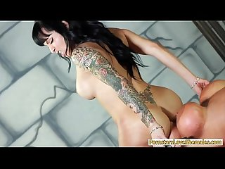 Booby tattooed tranny and a horny guy tag teamed whore