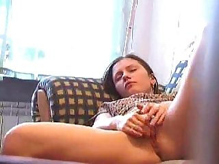 Babysitter masturbates on couch