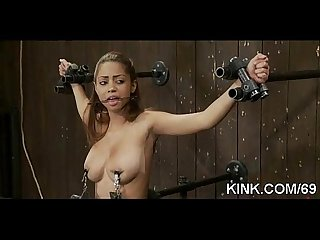 Hot busty sexy girl in fucked in strict bondage