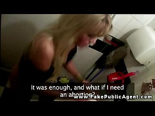 Blonde gives a blowjob on the Toilet