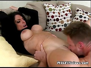 He leans back on the couch so jade can take care of his cock and balls3 wm