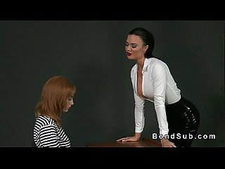 Busty mistress vibrates hairy pussy sub in lezdom