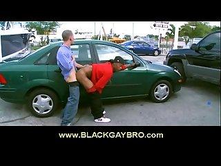 الرجل الملاعين الأسود مثلي الجنس أخي في الهواء الطلق في عرقي مثلي الجنس المشهد