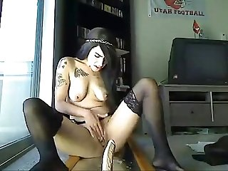 Emo girl Ridding dildo and squirt at hot8cams com