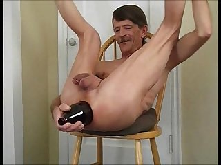Bottle fuck ass stretching with a giant bottle deep in my ass