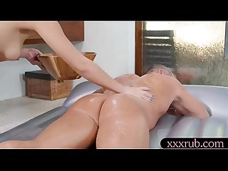 Sexy brunette masseuse gets boned on nuru massage bed