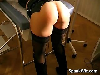 Slutty girl bends over and gets her ass