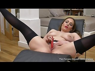 Femorg milf with big naturals solo masturbation with vibrator to orgasm