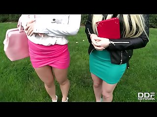 Russian blondes Lola Taylor & Angel Black deliver supreme extreme blowjob