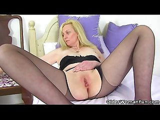 British blonde and busty milf fiona rips her tights