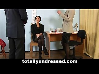 Shocking nude job interview for elegant young lady