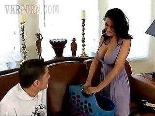 Lusty brunette MILF mom seduces another silly dude