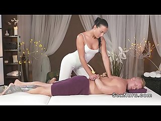 Masseuse with nice ass rides cock in massage room