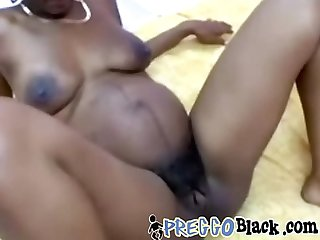 Preggo beauty banged after gagging on cock