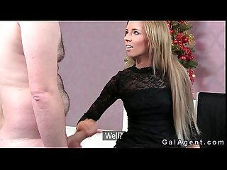 Female agent gives footjob in office to chubby amateur guy