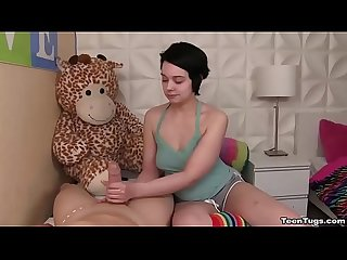 Teen innocent looking teen handjob