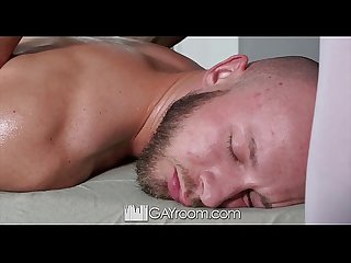 Gayroom interracial massage turns into oiled up fucking