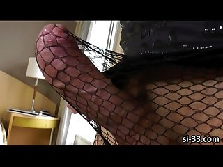 Gorgeous tgirl josiane pleases her juicy ass and hard cock