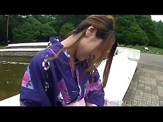 Hot Japanese geisha sucking cock in A public Toilet