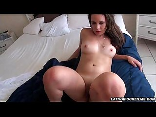 Fucked latina lets cum dribble out