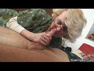 She pleases his horny young cock