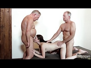 Old men put their cocks inside a young pussy and fuck her hard fast and they both fuck the Teen in t