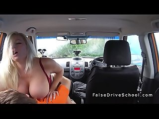 Huge boobs driving student doing big cock