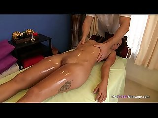 Asian Babe oiled down and fucked doggystyle