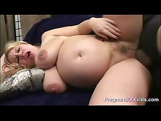 3way for horny blonde preggo