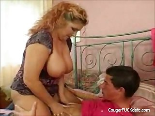 Busty Mature Cougar vs Young Big Dick
