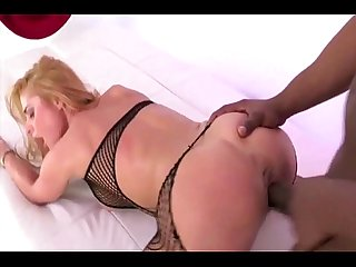 German Fishnet Blonde Whore Craves BBC