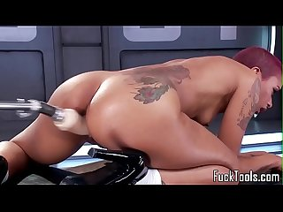Redhead ebony babe drilled with machine