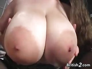 Big oiled up breasts from britain played with