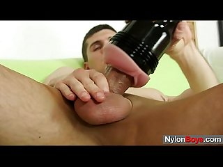 Twink jeff is alone and starts jerking his massive cock