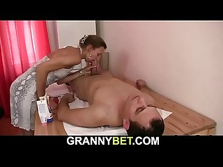 Old hairy pussy granny masseur helps him relax