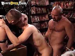 Hairy daddies in the sex shop