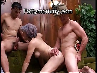 Mature granny hungry double cock on sofa