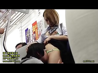 Japanese schoolgirl masturbates man on the train, until she makes him cum !! In..