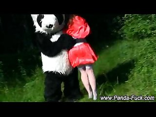 Fetish red riding hood and plush panda