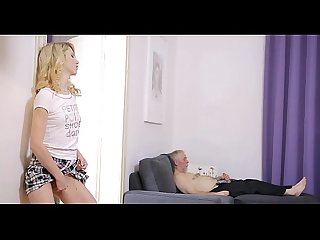 Horny aged man teases young babe